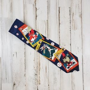 Warner Bros. Mens Tie Blue Baseball Toons